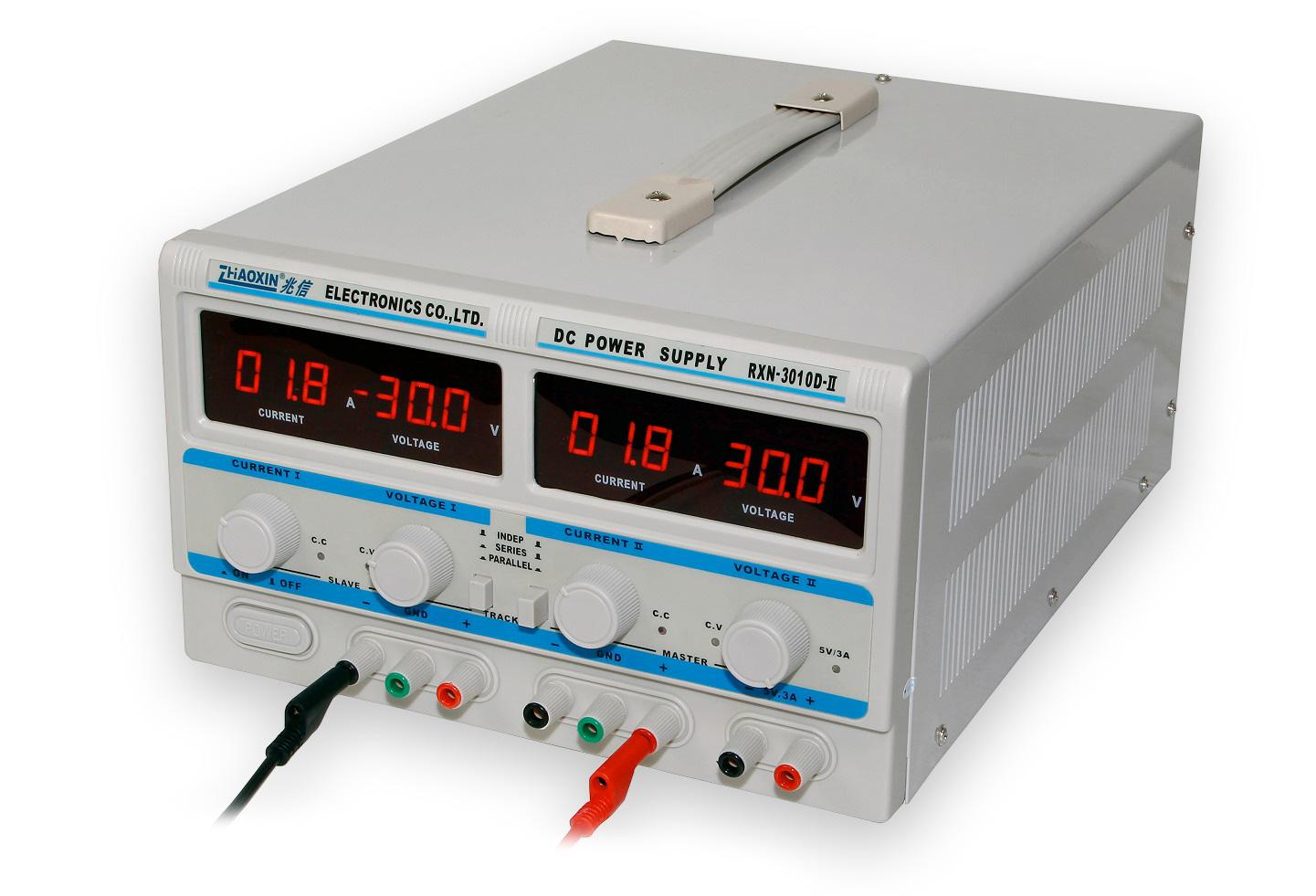 Dvojitý laboratorní zdroj RXN-3010D-II - 2x30V/10A, 60V/10A, 30V/20A