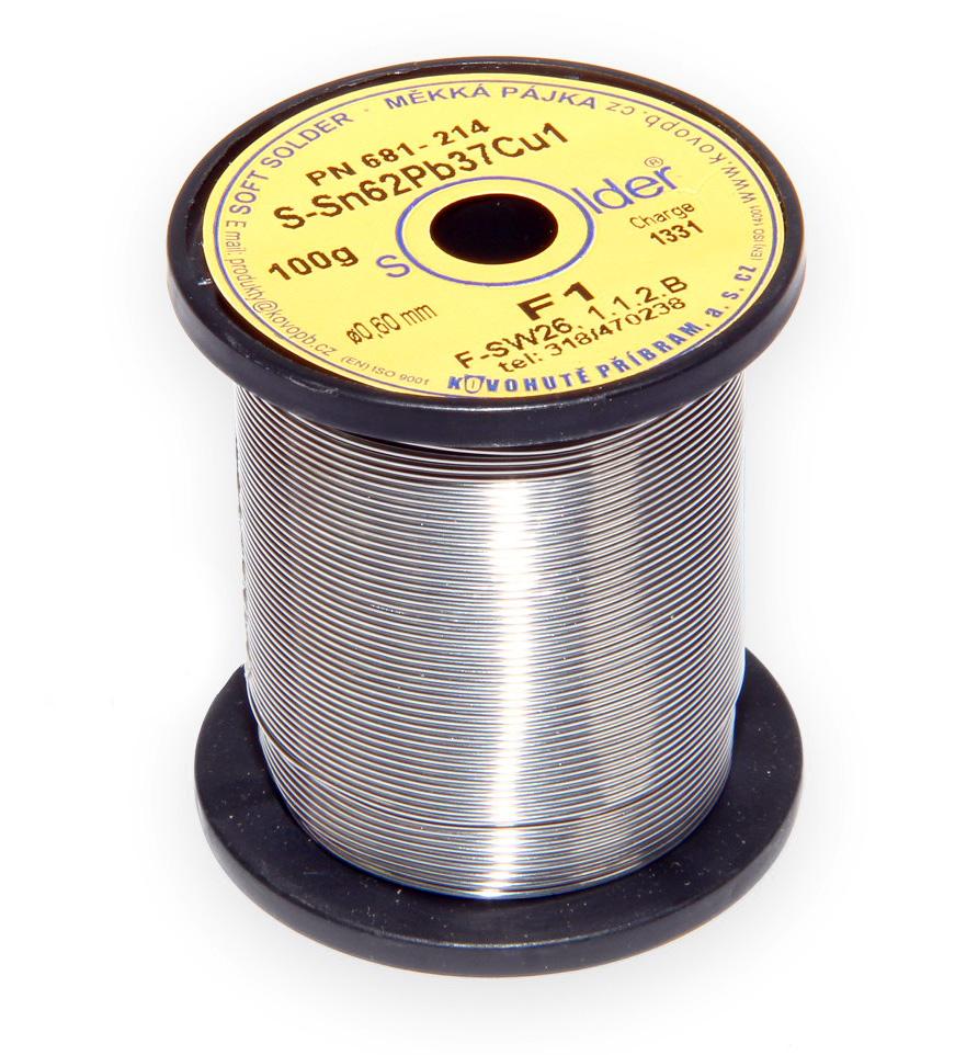 Olovnatá trubičková pájka S-Sn62Pb37Cu1 průměr 0,6 mm