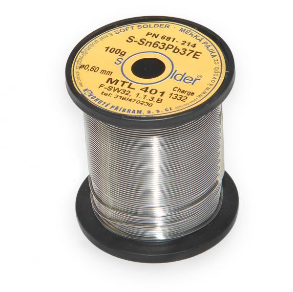 Olovnatá trubičková pájka S-Sn63Pb37E průměr 0,6 mm