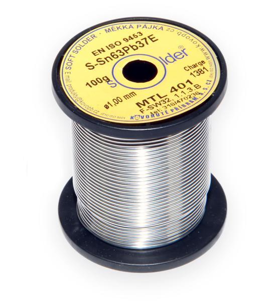Olovnatá trubičková pájka S-Sn63Pb37E průměr 1 mm