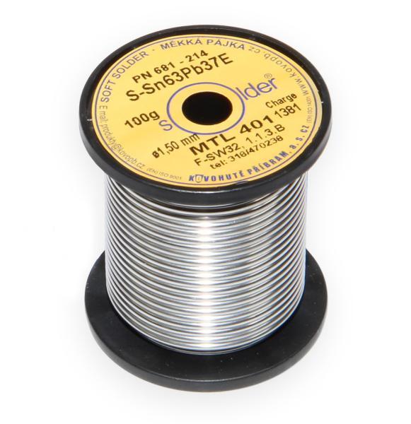 Olovnatá trubičková pájka S-Sn63Pb37E průměr 1,5 mm