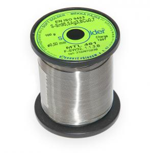 Bezolovnatá trubičková pájka S-Sn95,5Ag3,8Cu0,7 průměr 0,5 mm