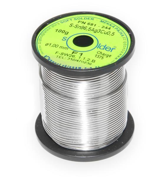 Bezolovnatá trubičková pájka S-Sn96,5Ag3Cu0,5 průměr 1 mm
