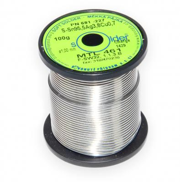Bezolovnatá trubičková pájka S-Sn95,5Ag3,8Cu0,7 průměr 1 mm
