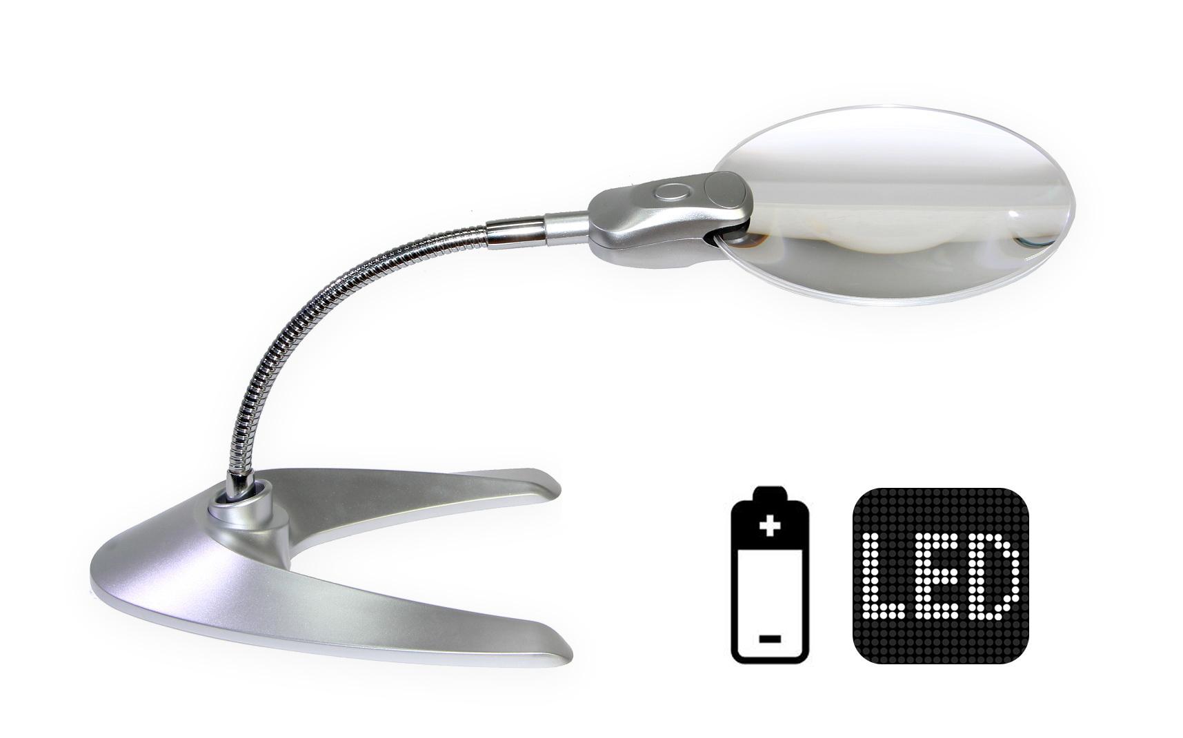 Stolní lupa s LED osvětlením na baterie GS-818-13