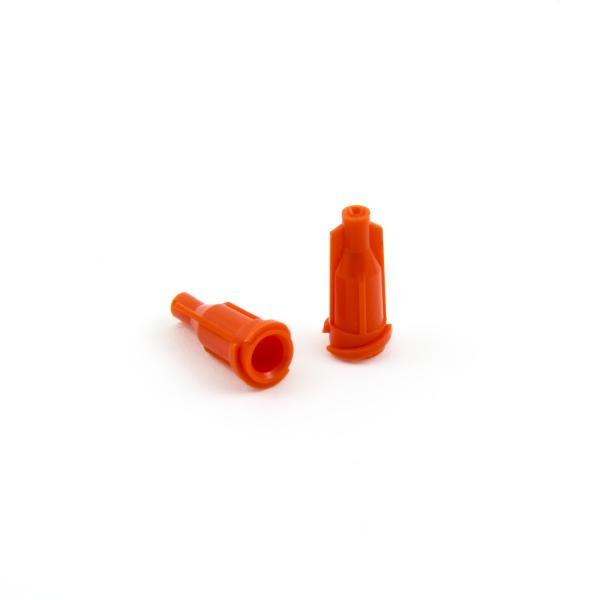 Uzávěr kartuší a stříkaček Luer Lock a Luer slip oranžový