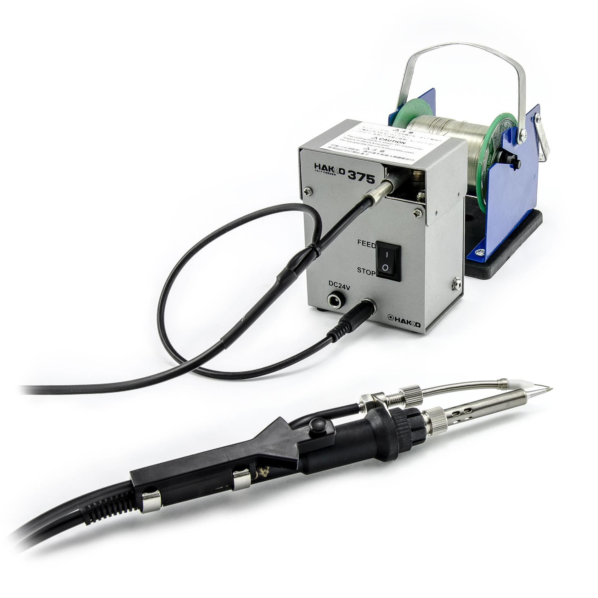 Systém nařezávání a podávání cínu 0.8mm k hrotu mikropájky Hakko 375-03+