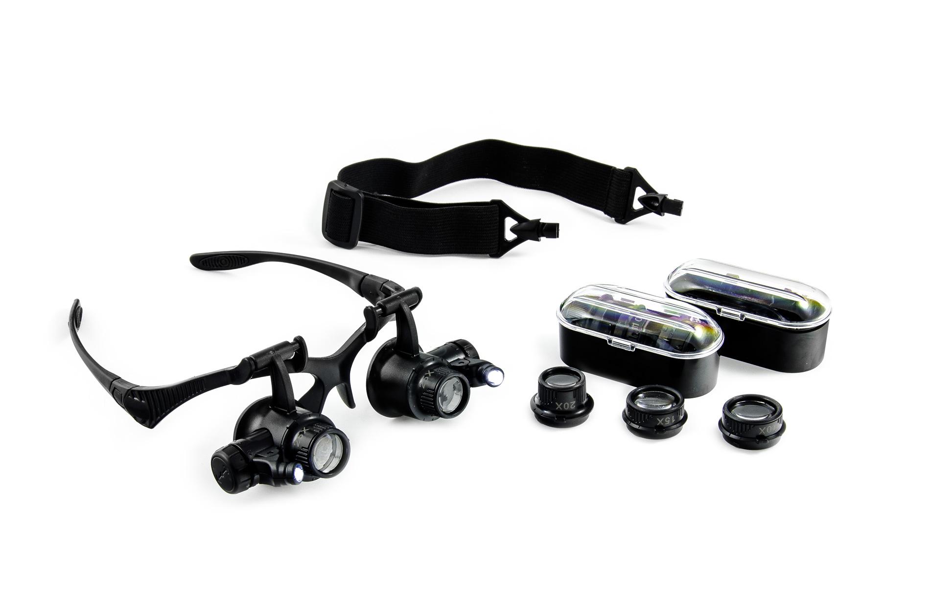 Brýle s lupou a LED přísvitem inspekční 10 - 25x