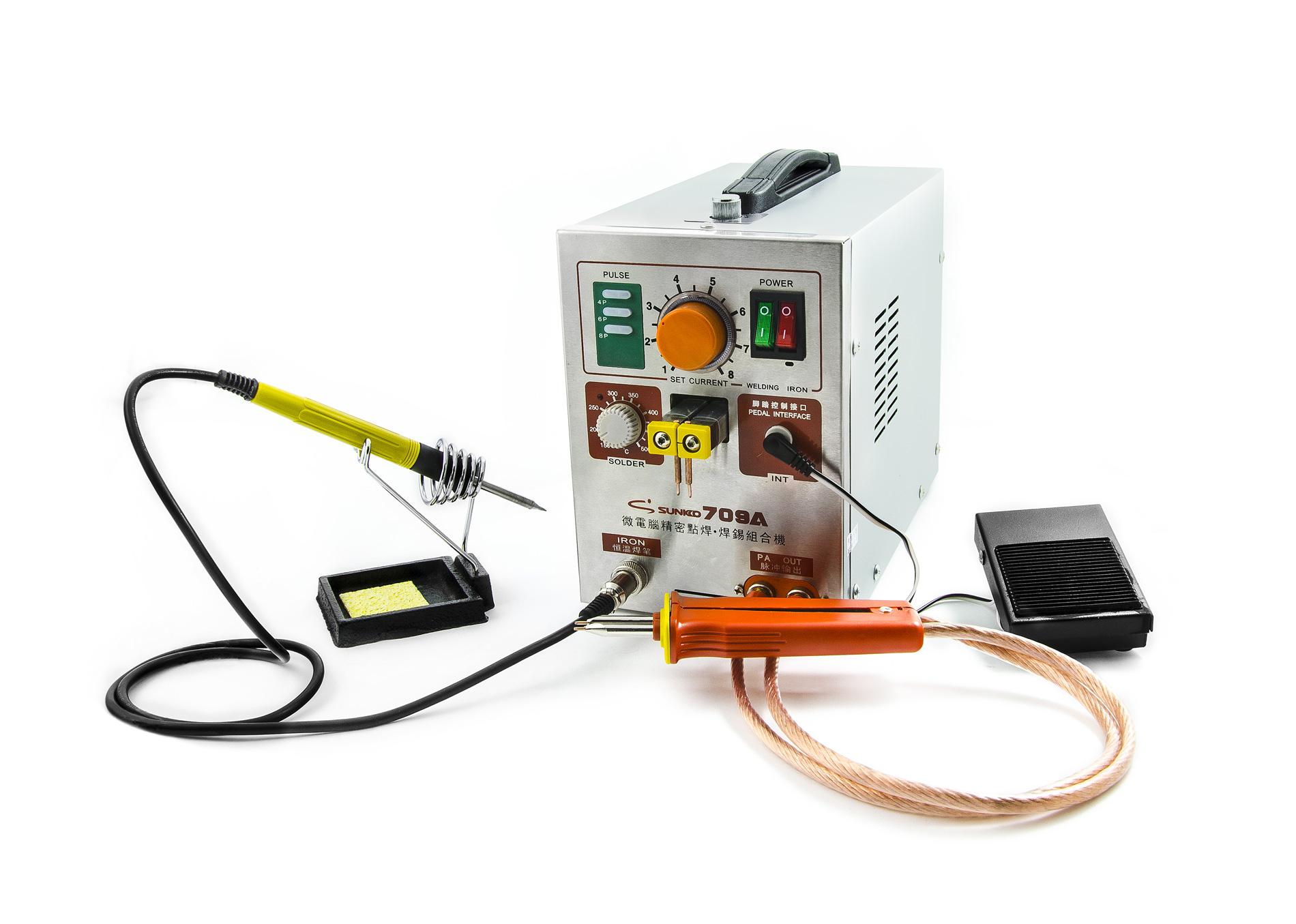 Bodová svářečka kontaktů baterií a aku packů Sunkko 709A s mikropájkou