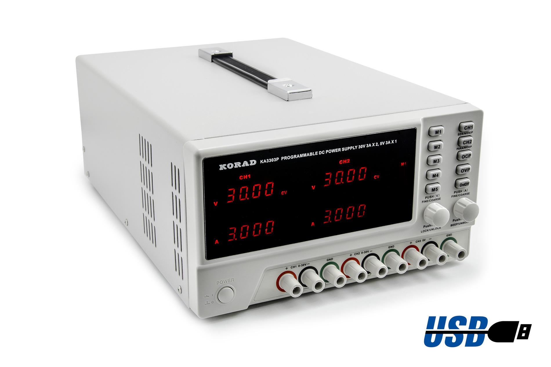 Programovatelný zdroj Korad KA3303P 2x 30V 3A s USB RS232 tříkanálový