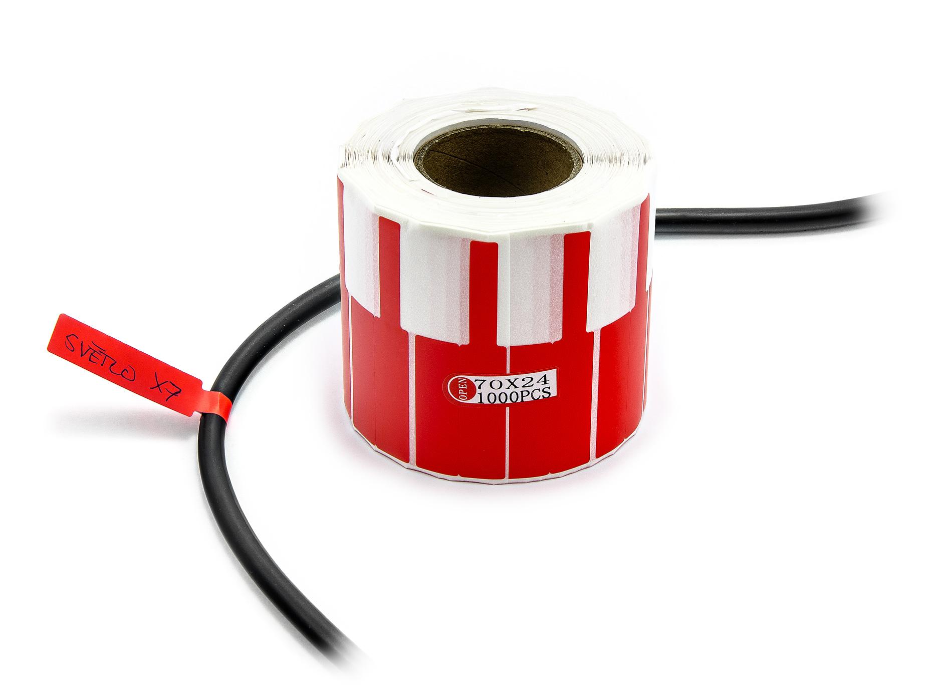 Samolepící štítky k popisování kabelů a drátů 1000ks červené