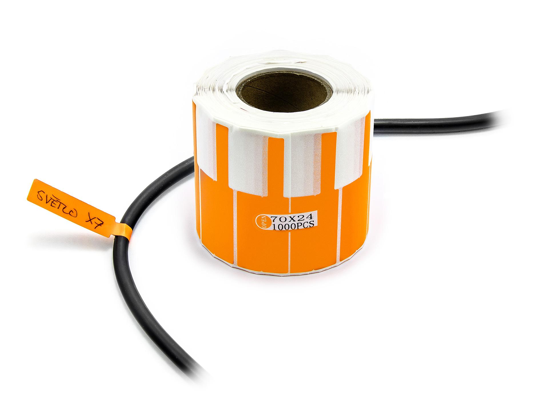 Samolepící štítky k popisování kabelů a drátů 1000ks oranžové