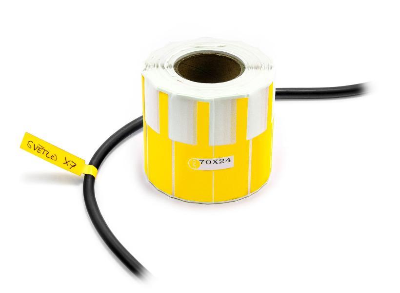 Nálepky k označování a popisu vodičů a kabelů 500ks žluté