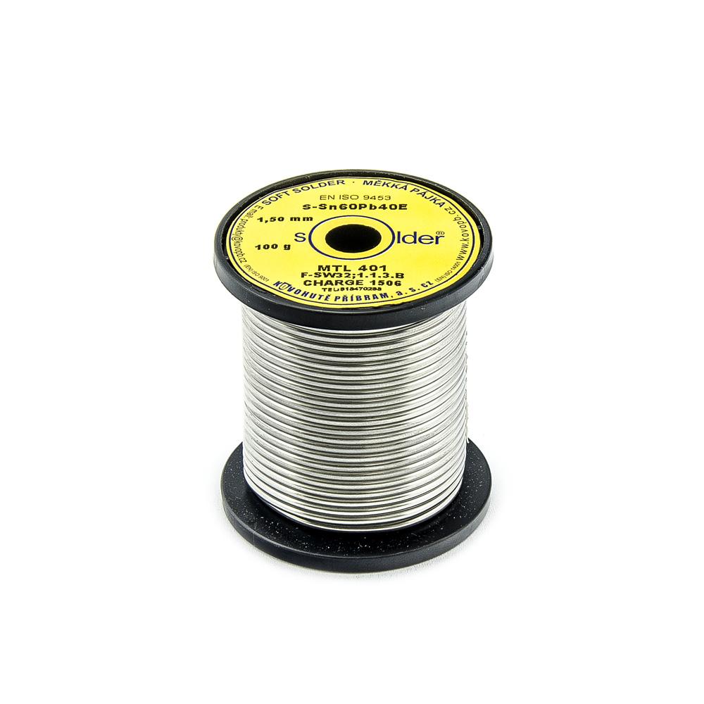 Trubičkový cín S-Sn60Pb40E MTL 401 1,5mm 100g