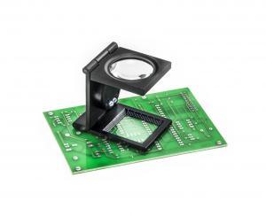Servisní lupa s měřítkem a LED osvětlením celokovová, 15 dioptrií 5x zvětšení
