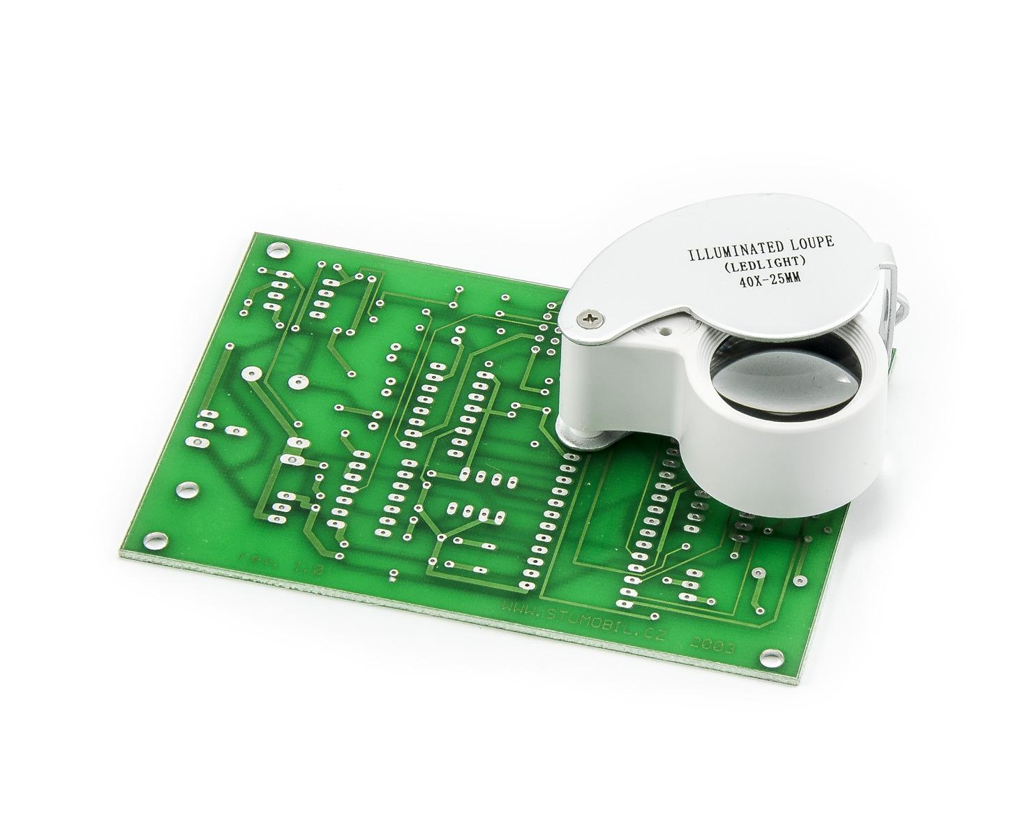 Servisní lupa se zvětšením 40x a LED přísvitem průměr 25mm