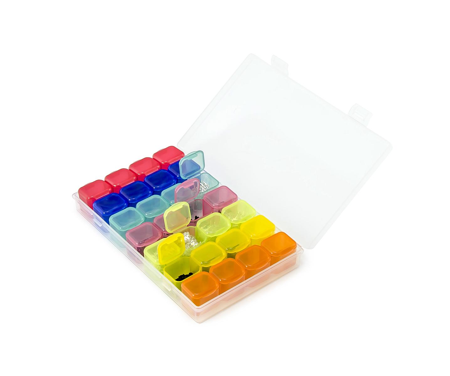 Krabičky na SMD součástky a šroubky, 28 komor
