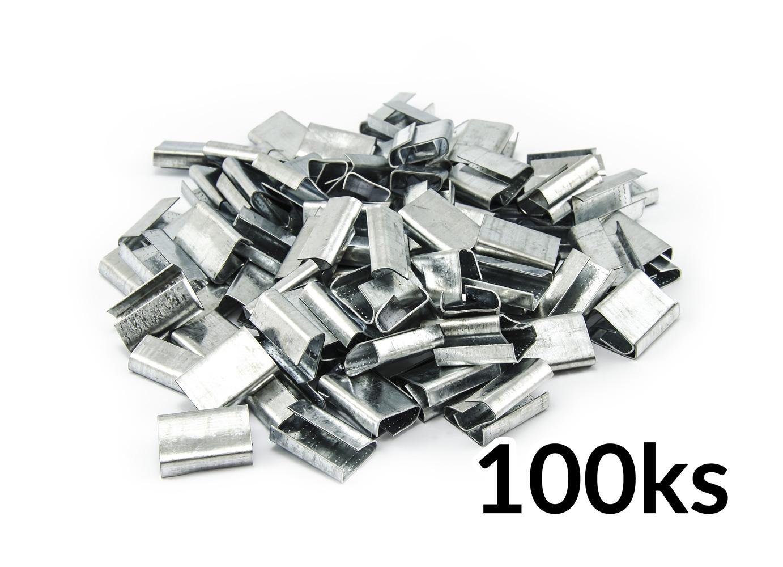 Pozinkované kovové spony pro páskování PP a PET pásek do 16mm 100ks