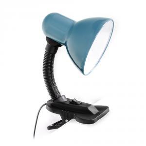 Stolní ohebná lampa s klipem pro žárovky E27 šedomodrá