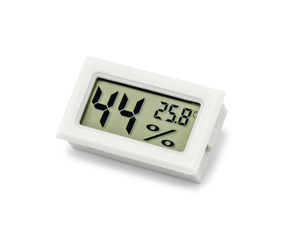 Panelový LCD vlhkoměr s teploměrem bílý