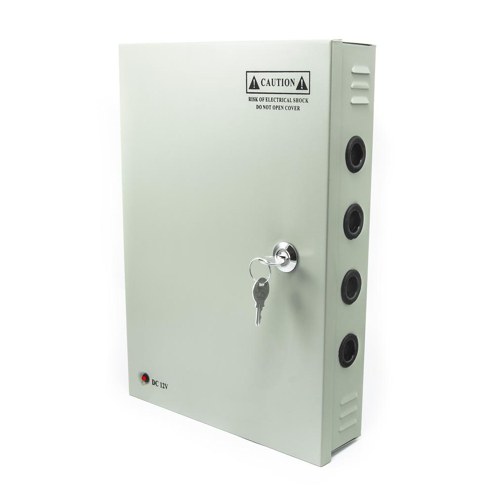 Napájecí skříň (rozvaděč) pro modulové zdroje, až 18 jištěných výstupů