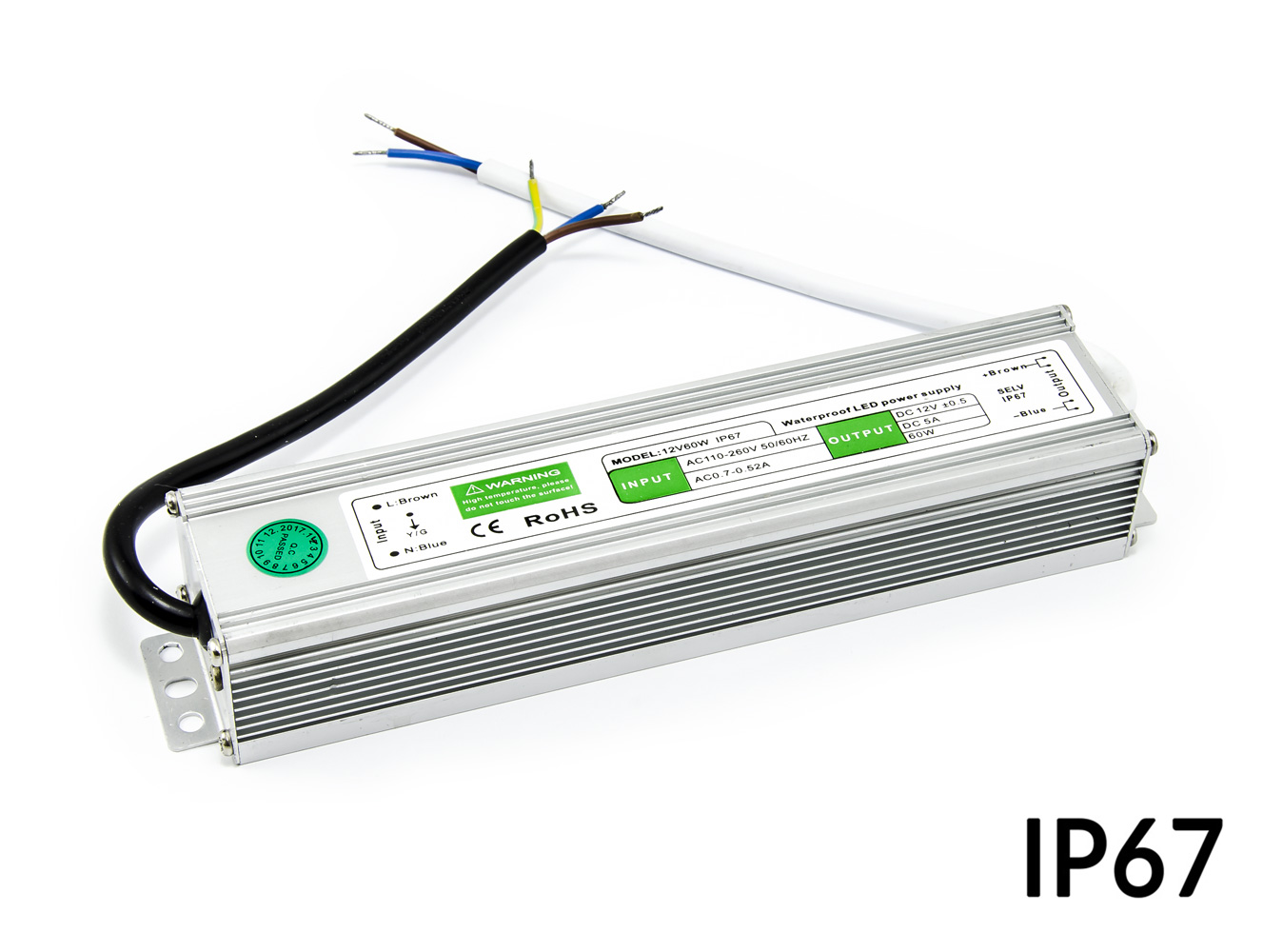 Voděodolný napájecí LED zdroj 12V 5A 60W