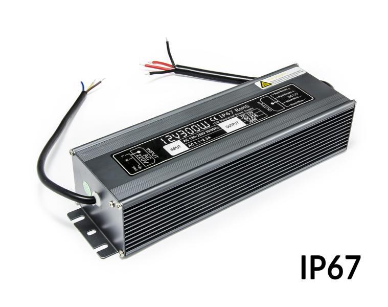 Napájecí zdroj pro LED osvětlení voděodolný IP67 12V 25A 300W