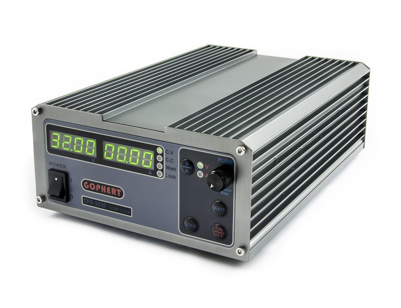 Pulzní laboratorní zdroj s wattmetrem Gophert CPS-3232 0-32V/32A