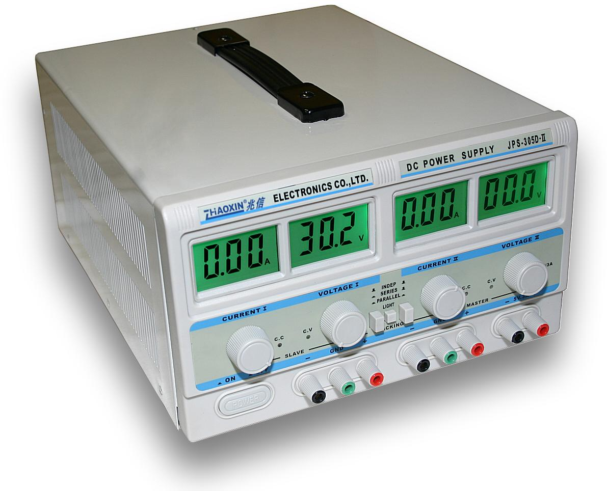 Dvojitý laboratorní zdroj JPS-305D-II - 2x30V/5A, 60V/5A, 30V/10A