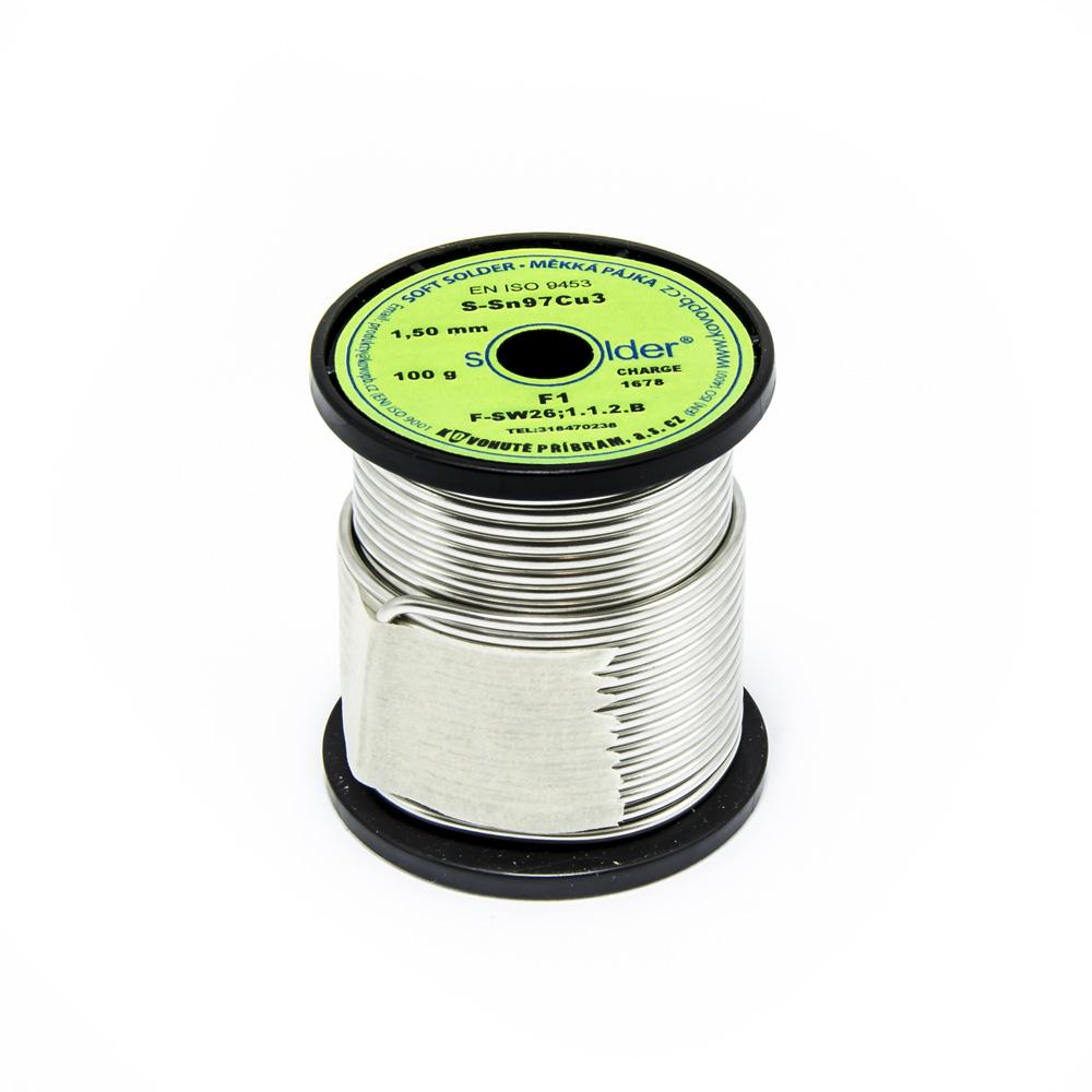 Měkká trubičková pájka Solder S-Sn97Cu3 F1 1.5mm 100g