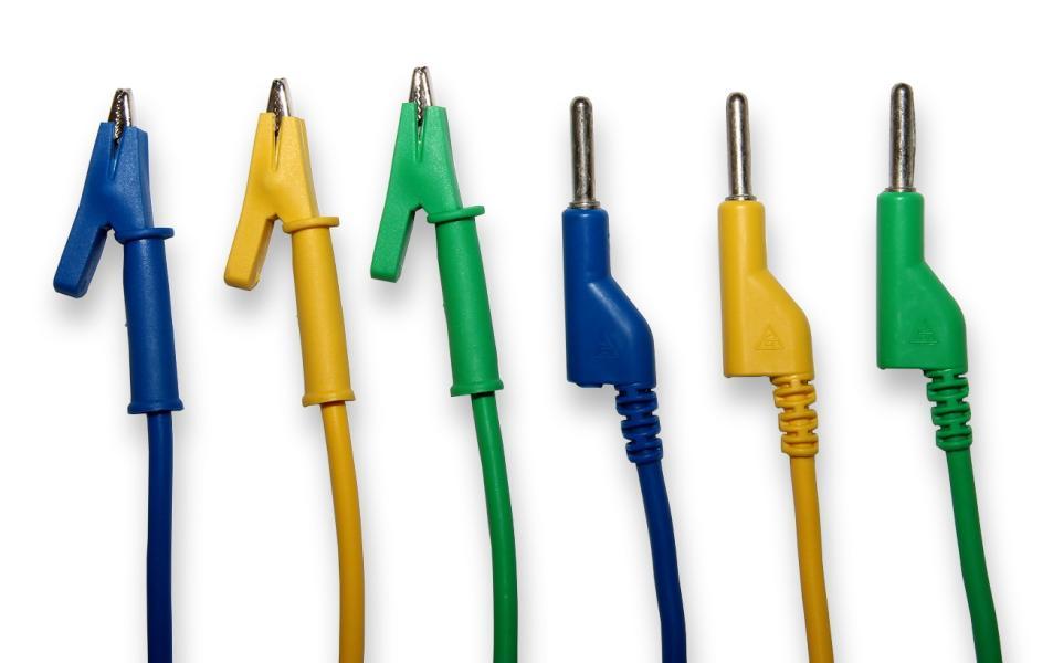 Kabel k laboratorním zdrojům 50cm žlutý