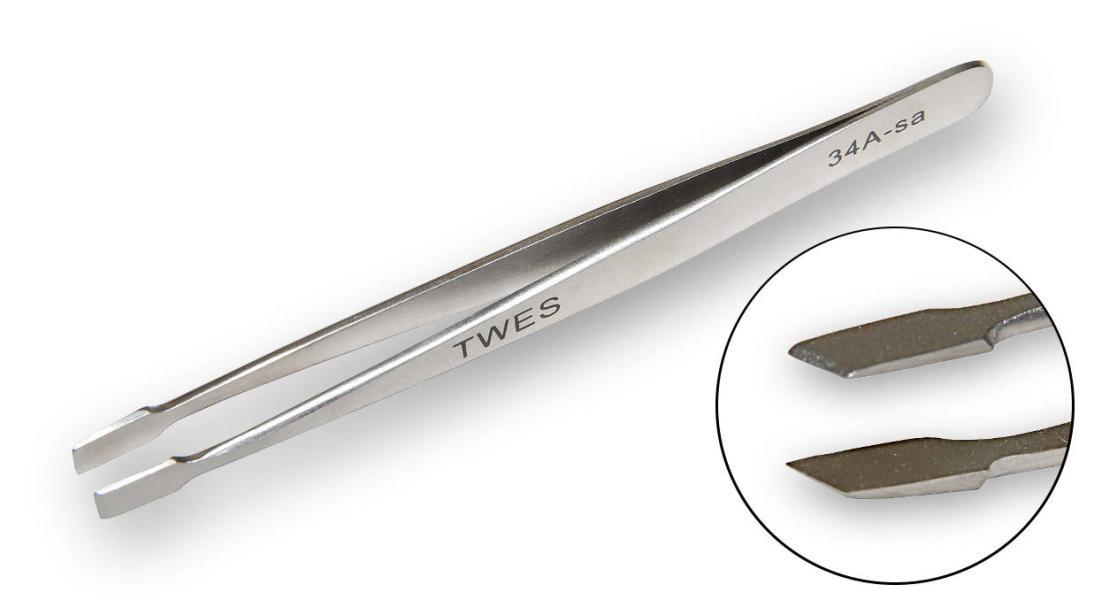 Nerezová-nemagnetická pinzeta pro široký stisk TWES 34a