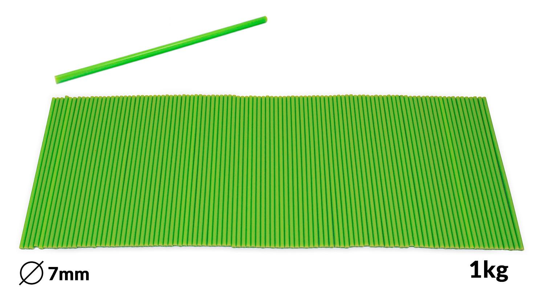 Náplně tavné zelené do lepící pistole průměr 7mm 1kg