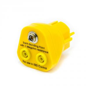 Zemnící body ESD do zásuvky 230V, 2x banán 4mm, 1x ESD patentka 10mm