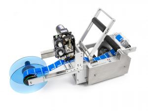 Výrobek: Poloautomatická etiketovačka LT-50D na lahve, dózy a plechovky s integrovanou tiskárnou expirací