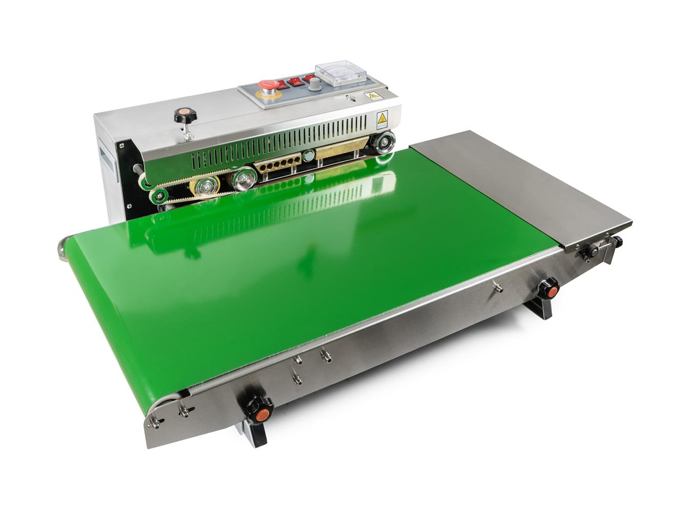 Průběžná nerezová svářečka fólií s dopravníkem a horkým tiskem DBF-770WL-385