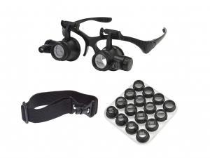 Zvětšovací brýle s LED přísvitem a výměnnými čočkami a  2.5X - 25x