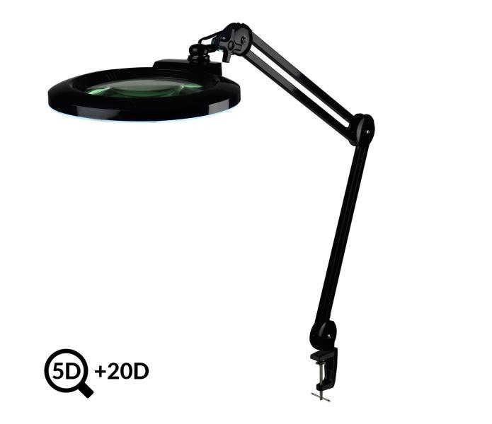 Černá polohovatelná LED lampa s lupou IB-178, průměr 178mm, 5D+20D