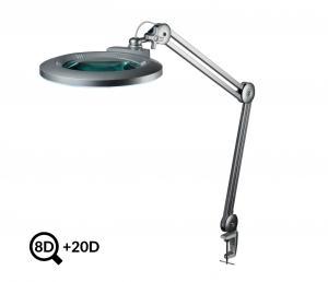 Šedá stolní LED lampa s lupou IB-178, průměr 178mm, 8D+20D