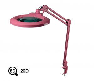 Růžová kosmetická LED lampa s lupou IB-178, průměr 178mm, 8D+20D