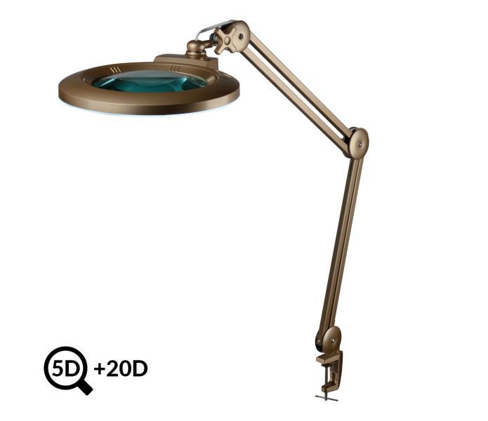 Zlatá pracovní LED lampa s lupou IB-178, průměr 178mm, 5D+20D