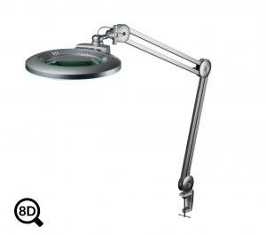 Šedá stolní lampa s lupou a regulací jasu IB-150, průměr 150mm, 8D