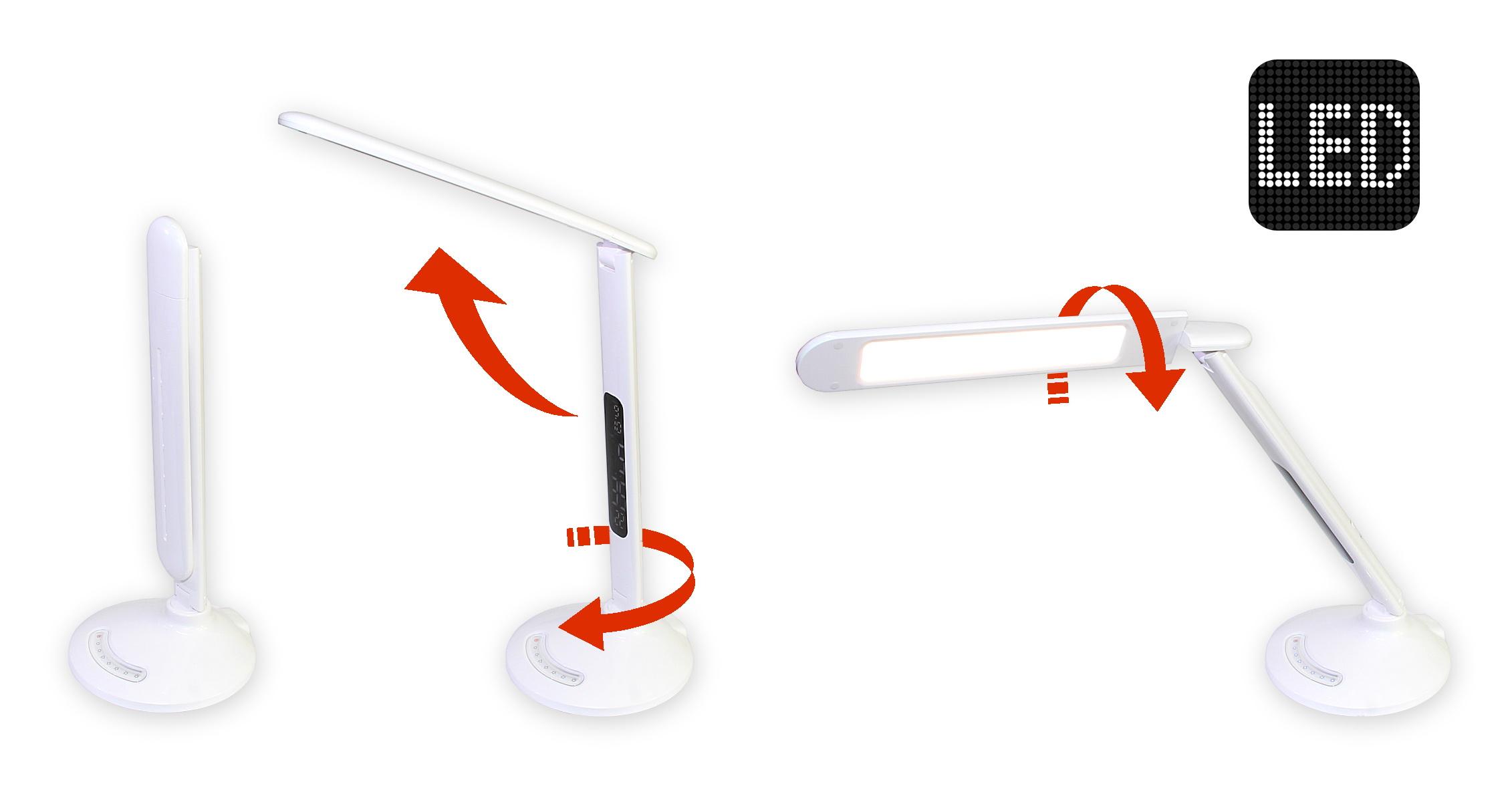 LED stolní lampa A5 s LCD hodinami, teploměrem, USB nabíječkou a regulací svitu
