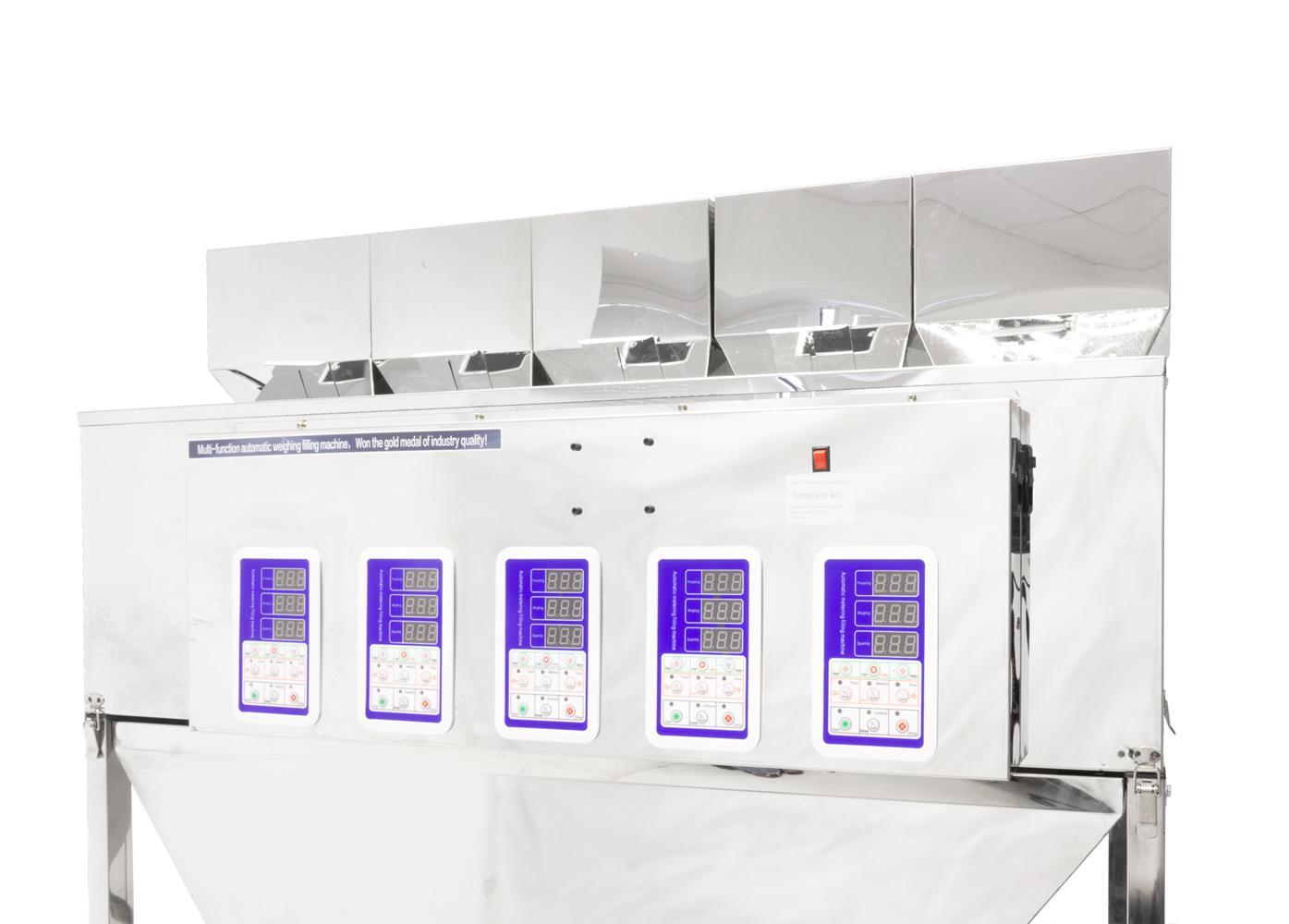 Pětihlavý automatický dávkovač sypkých materiálů a směsí 5x 10-500g